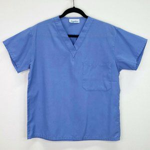 Angelica Solid Blue Scrub Top Shirt Size Small